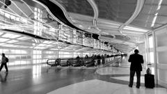 Walkway between terminals at Chicago Airport
